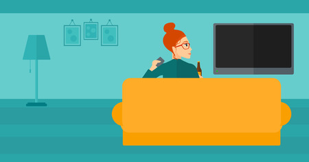 woman watching tv: A woman sitting on the couch in living room and watching tv with remote controller in one hand and a bottle in another vector flat design illustration. Horizontal layout.
