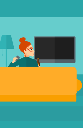 woman watching tv: A woman sitting on the couch in living room and watching tv with remote controller in one hand and a bottle in another vector flat design illustration. Vertical layout.