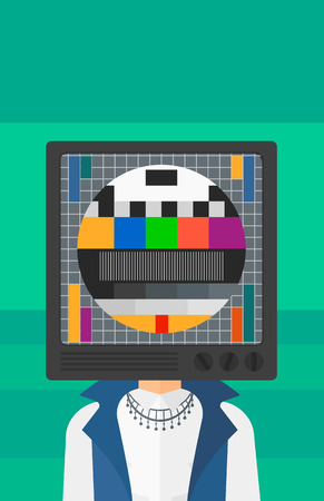 addicted: A woman with TV set instead of head vector flat design illustration isolated on light green background. Vertical layout. Illustration