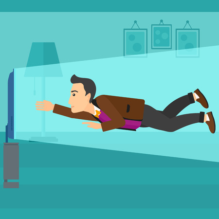 A mman flying in front of TV screen in living room vector flat design illustration. Square layout. Illustration