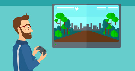 playstation: A hipster man with the beard playing video game with gamepad in hands vector flat design illustration. Horizontal layout.