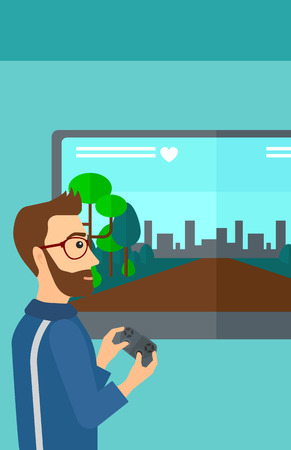 playing video game: A hipster man with the beard playing video game with gamepad in hands vector flat design illustration. Vertical layout.