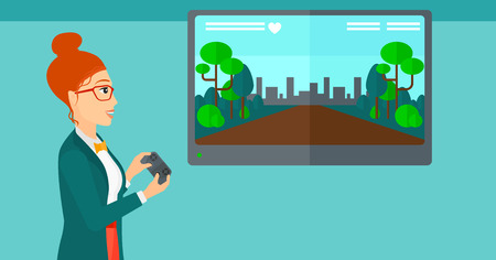 playing video game: A woman playing video game with gamepad in hands vector flat design illustration. Horizontal layout. Illustration