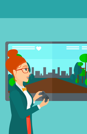 playing video game: A woman playing video game with gamepad in hands vector flat design illustration. Vertical layout.
