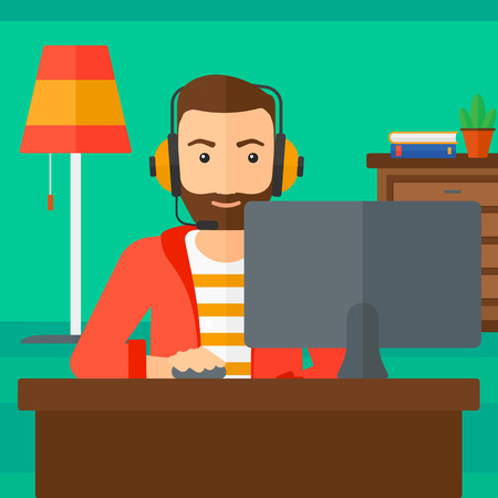 A hipster man in headphones sitting in front of computer monitor with mouse in hand on living room background vector flat design illustration. Square layout.