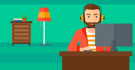 users video: A hipster man in headphones sitting in front of computer monitor with mouse in hand on living room background vector flat design illustration. Horizontal layout.