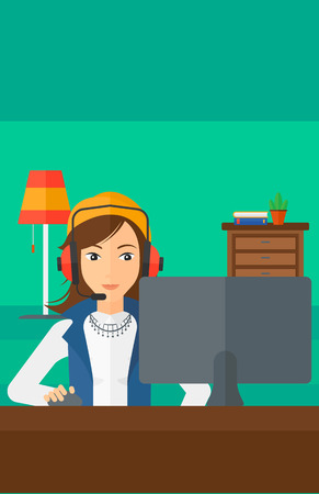 users video: A woman in headphones sitting in front of computer monitor with mouse in hand on living room background vector flat design illustration. Vertical layout. Illustration