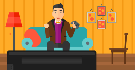 A happy man with gamepad in hands sitting on a sofa in living room vector flat design illustration. Horizontal layout.