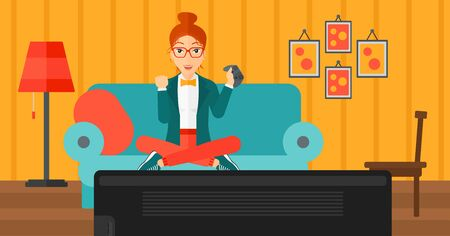woman on couch: A happy woman with gamepad in hands sitting on a sofa in living room vector flat design illustration. Horizontal layout. Illustration