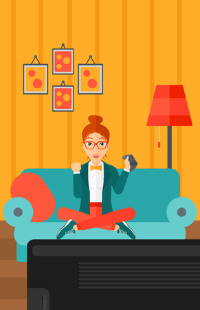 A happy woman with gamepad in hands sitting on a sofa in living room vector flat design illustration. Vertical layout.