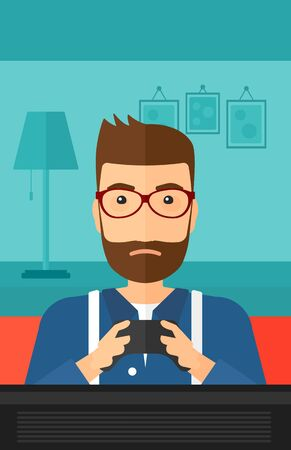 users video: A tired hipster man sitting on a sofa with gamepad in hands on a living room background vector flat design illustration. Vertical layout.