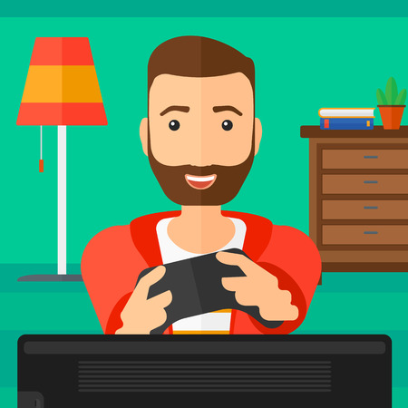 living room design: An enthusiastic woman with gamepad in hands on a living room background vector flat design illustration. Square layout.