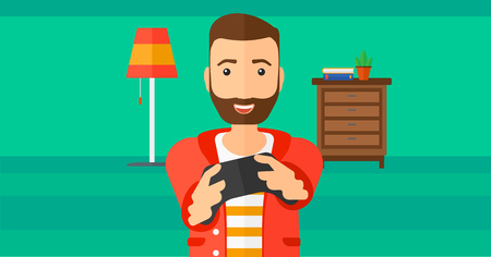 enthusiastic: An enthusiastic woman with gamepad in hands on a living room background vector flat design illustration. Horizontal layout.