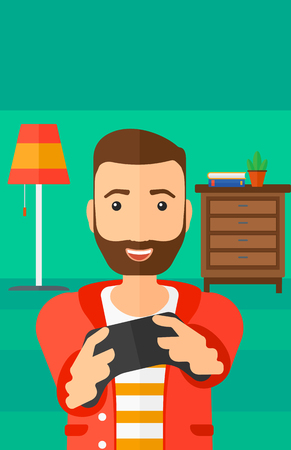 An enthusiastic hipster man with gamepad in hands on a living room background vector flat design illustration. Vertical layout.