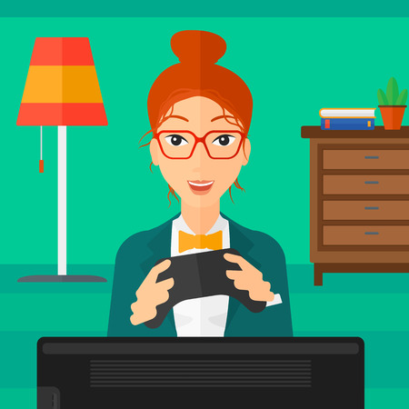 An enthusiastic woman with gamepad in hands on a living room background vector flat design illustration. Square layout.
