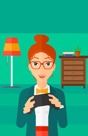 enthusiastic: An enthusiastic woman with gamepad in hands on a living room background vector flat design illustration. Vertical layout. Illustration