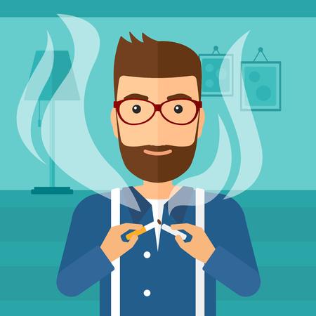 거실의 배경에 담배를 깨는 수염을 가진 hipster 남자 벡터 평면 디자인 일러스트 레이 션. 사각형 레이아웃. 일러스트