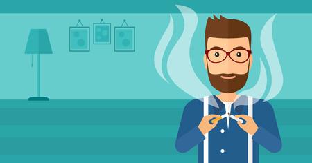 거실의 배경에 담배를 깨는 수염을 가진 hipster 남자 벡터 평면 디자인 일러스트 레이 션. 가로 레이아웃입니다.