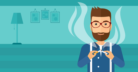 A hipster man with the beard breaking the cigarette on the background of living room vector flat design illustration. Horizontal layout.
