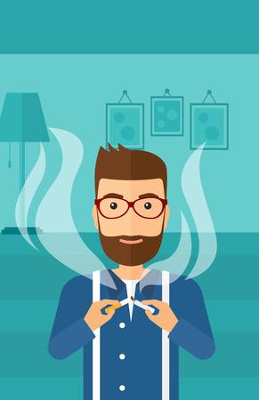 거실의 배경에 담배를 깨는 수염을 가진 hipster 남자 벡터 평면 디자인 일러스트 레이 션. 세로 레이아웃. 일러스트