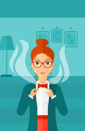 거실의 배경에 담배를 깨는 행복 한 여자 벡터 평면 디자인 일러스트 레이 션. 세로 레이아웃.