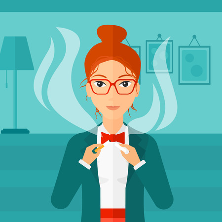 dangerous woman: A happy woman breaking the cigarette on the background of living room vector flat design illustration. Square layout.