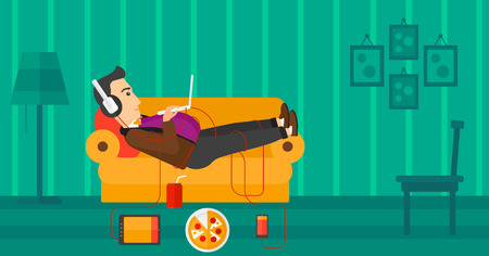 electronic devices: A fat man in headphones lying on a sofa in living room with electronic devices and fast food vector flat design illustration. Horizontal layout.