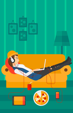 electronic devices: A woman in headphones lying on a sofa in living room with electronic devices and fast food vector flat design illustration. Vertical layout.