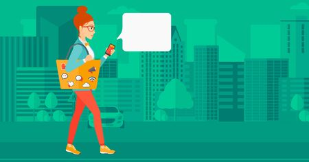 smart phone woman: A woman walking with a smartphone and a bag full of social media icons on a city background vector flat design illustration. Horizontal layout. Illustration