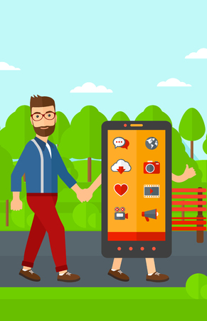 addicted: A hipster man with he beard walking with a big smartphone in the park vector flat design illustration. Vertical layout.