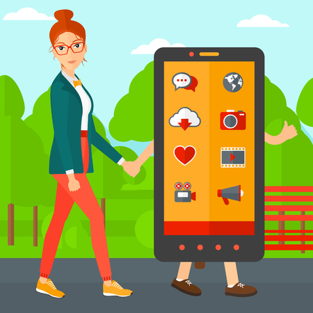 woman smartphone: A woman walking with a big smartphone in the park vector flat design illustration. Square layout.
