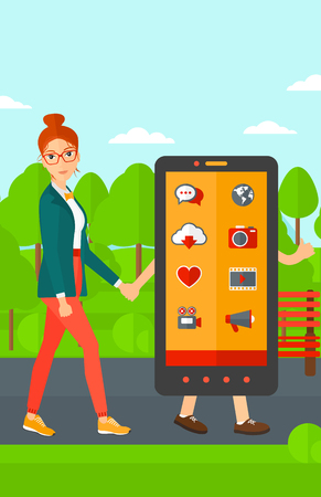 woman smartphone: A woman walking with a big smartphone in the park vector flat design illustration. Vertical layout.