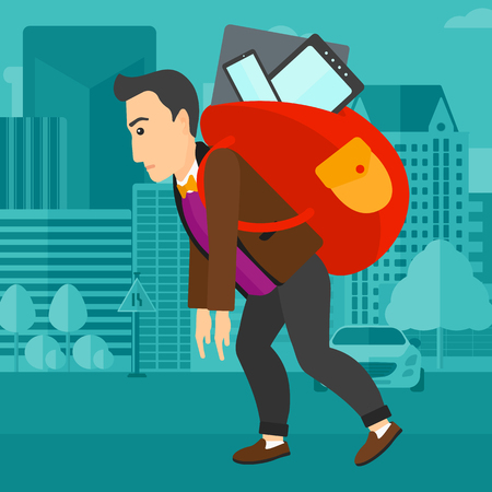 cary: A sad man walking with a big backpack full of different devices on a city background vector flat design illustration. Square layout. Illustration