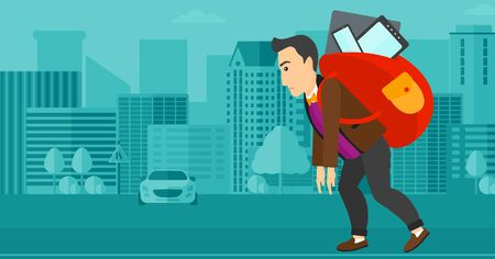 cary: A sad man walking with a big backpack full of different devices on a city background vector flat design illustration. Horizontal layout.