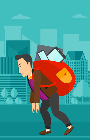 cary: A sad man walking with a big backpack full of different devices on a city background vector flat design illustration. Vertical layout.