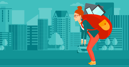 cary: A sad woman walking with a big backpack full of different devices on a city background vector flat design illustration. Horizontal layout.
