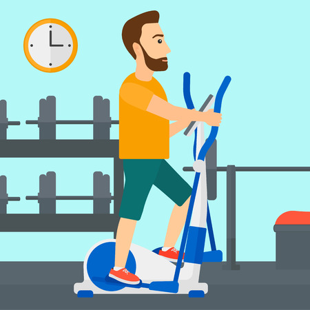machine man: A hipster man with the beard exercising on a elliptical machine in the gym vector flat design illustration. Square layout.