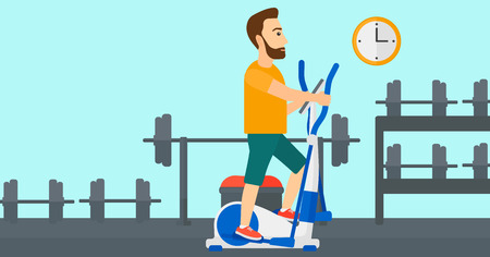 machine man: A hipster man with the beard exercising on a elliptical machine in the gym vector flat design illustration. Horizontal layout.