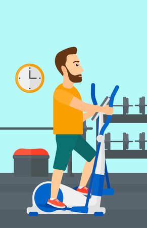 cardiovascular exercising: A hipster man with the beard exercising on a elliptical machine in the gym vector flat design illustration. Vertical layout.