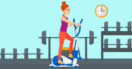 A woman exercising on a elliptical machine in the gym vector flat design illustration. Horizontal layout.