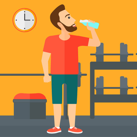 man drinking water: A sportive hipster man with the beard drinking water in the gym vector flat design illustration. Square layout.