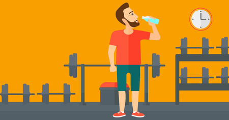 man drinking water: A sportive hipster man with the beard drinking water in the gym vector flat design illustration. Horizontal layout.