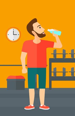 man drinking water: A sportive hipster man with the beard drinking water in the gym vector flat design illustration. Vertical layout. Illustration