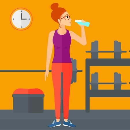 sportive: A sportive woman drinking water in the gym vector flat design illustration. Square layout.