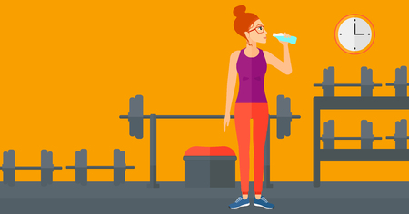 sportive: A sportive woman drinking water in the gym vector flat design illustration. Horizontal layout. Illustration