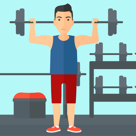 crossbar: A man lifting a barbell in the gym vector flat design illustration. Square layout. Illustration