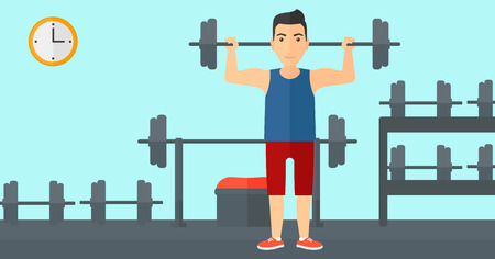 crossbar: A man lifting a barbell in the gym vector flat design illustration. Horizotal layout. Illustration