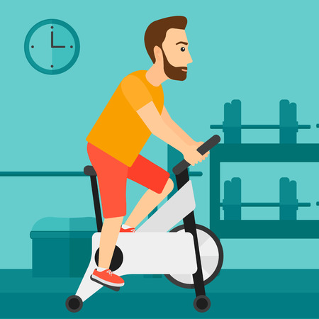 shapes cartoon: A hipster man with the beard exercising on stationary training bicycle in the gym vector flat design illustration. Square layout.