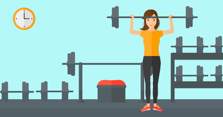crossbar: A woman lifting a barbell in the gym vector flat design illustration. Horizontal layout.