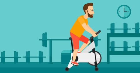 A hipster man with the beard exercising on stationary training bicycle in the gym vector flat design illustration. Horizontal layout. 向量圖像